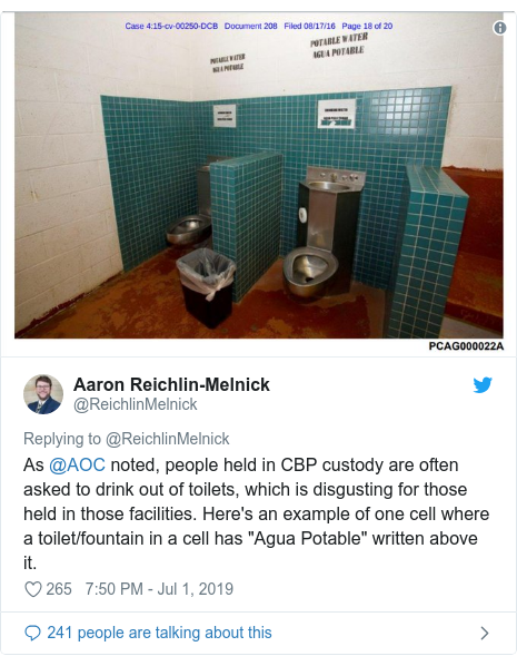 "Twitter post by @ReichlinMelnick: As @AOC noted, people held in CBP custody are often asked to drink out of toilets, which is disgusting for those held in those facilities. Here's an example of one cell where a toilet/fountain in a cell has ""Agua Potable"" written above it."