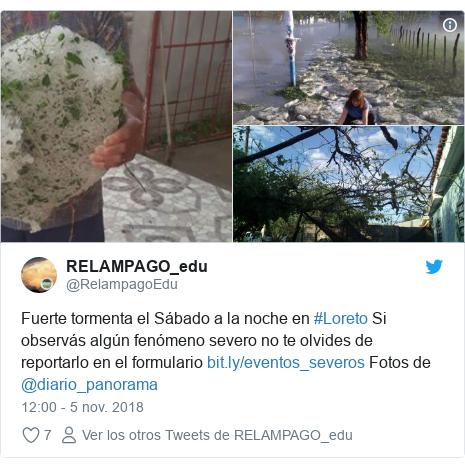 Publicación de Twitter por @RelampagoEdu: Fuerte tormenta el Sábado a la noche en #Loreto Si observás algún fenómeno severo no te olvides de reportarlo en el formulario  Fotos de @diario_panorama