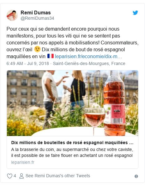 Twitter post by @RemiDumas34: Pour ceux qui se demandent encore pourquoi nous manifestons, pour tous les viti qui ne se sentent pas concernés par nos appels à mobilisations! Consommateurs, ouvrez l'œil 😉 Dix millions de bout de rosé espagnol maquillées en vin 🇫🇷