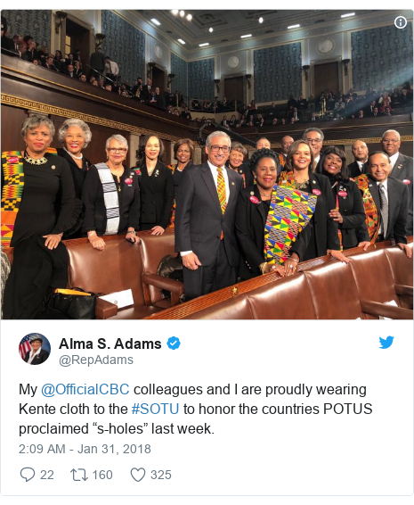 """Twitter post by @RepAdams: My @OfficialCBC colleagues and I are proudly wearing Kente cloth to the #SOTU to honor the countries POTUS proclaimed """"s-holes"""" last week."""