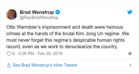 Twitter post by @RepBradWenstrup: Otto Warmbier's imprisonment and death were heinous crimes at the hands of the brutal Kim Jong Un regime. We must never forget this regime's despicable human rights record, even as we work to denuclearize the country.
