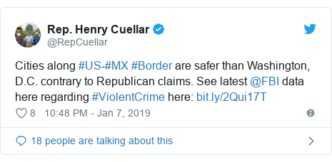 Twitter post by @RepCuellar: Cities along #US-#MX #Border are safer than Washington, D.C. contrary to Republican claims. See latest @FBI data here regarding #ViolentCrime here