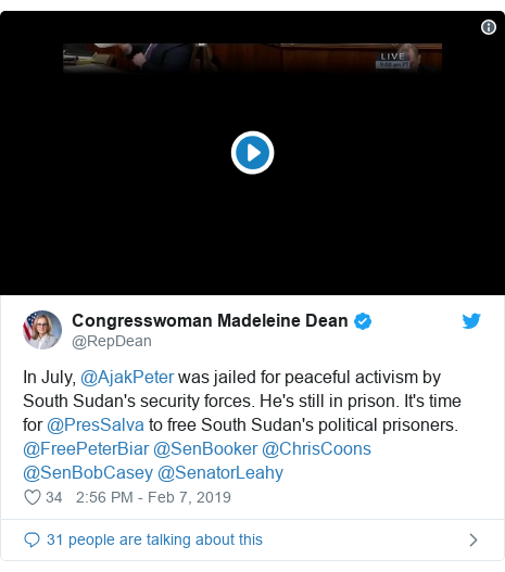 Twitter post by @RepDean: In July, @AjakPeter was jailed for peaceful activism by South Sudan's security forces. He's still in prison. It's time for @PresSalva to free South Sudan's political prisoners. @FreePeterBiar @SenBooker @ChrisCoons @SenBobCasey @SenatorLeahy