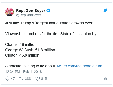 """Twitter post by @RepDonBeyer: Just like Trump's """"largest Inauguration crowds ever."""" Viewership numbers for the first State of the Union by Obama  48 millionGeorge W. Bush  51.8 millionClinton  45.8 millionA ridiculous thing to lie about."""