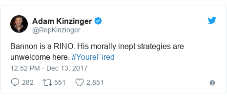 Twitter post by @RepKinzinger: Bannon is a RINO. His morally inept strategies are unwelcome here. #YoureFired