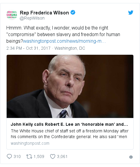 """Twitter post by @RepWilson: Hmmm. What exactly, I wonder, would be the right """"compromise"""" between slavery and freedom for human beings?"""