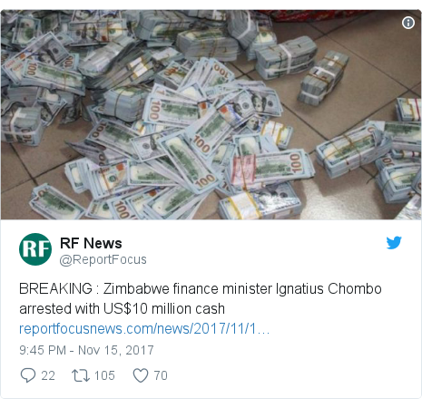 Twitter post by @ReportFocus: BREAKING   Zimbabwe finance minister Ignatius Chombo arrested with US$10 million cash