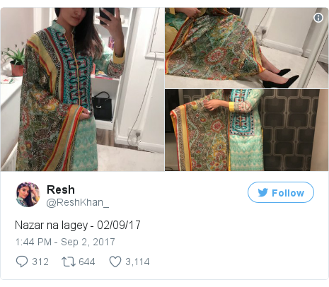 Twitter post by @ReshKhan_: Nazar na lagey - 02/09/17 pic.twitter.com/F2Inu07kwH