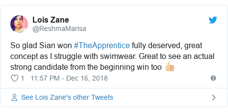 Twitter post by @ReshmaMarisa: So glad Sian won #TheApprentice fully deserved, great concept as I struggle with swimwear. Great to see an actual strong candidate from the beginning win too 👍🏼