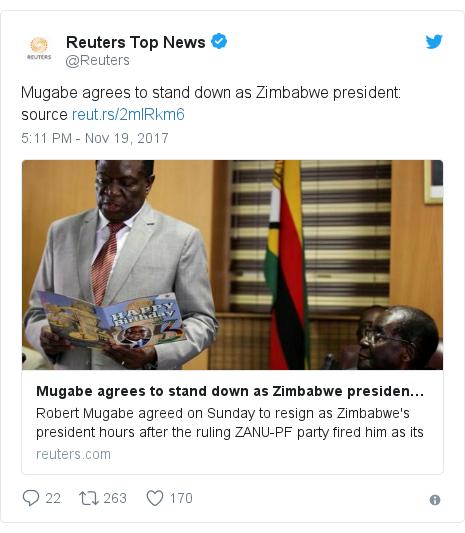 Twitter හි @Reuters කළ පළකිරීම: Mugabe agrees to stand down as Zimbabwe president  source