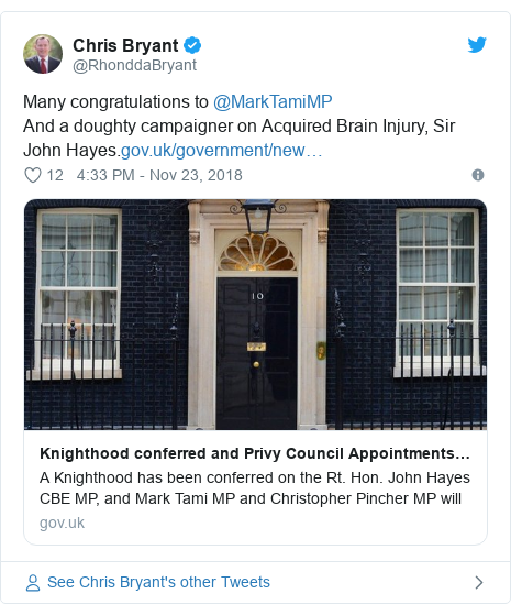 Twitter post by @RhonddaBryant: Many congratulations to @MarkTamiMPAnd a doughty campaigner on Acquired Brain Injury, Sir John Hayes.