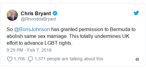 Twitter post by @RhonddaBryant: So @BorisJohnson has granted permission to Bermuda to abolish same sex marriage. This totally undermines UK effort to advance LGBT rights.