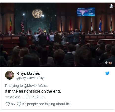 Twitter post by @RhysDaviesGlyn: It in the far right side on the end.