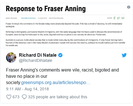 Twitter post by @RichardDiNatale: Fraser Anning's comments were vile, racist, bigoted and have no place in our society.