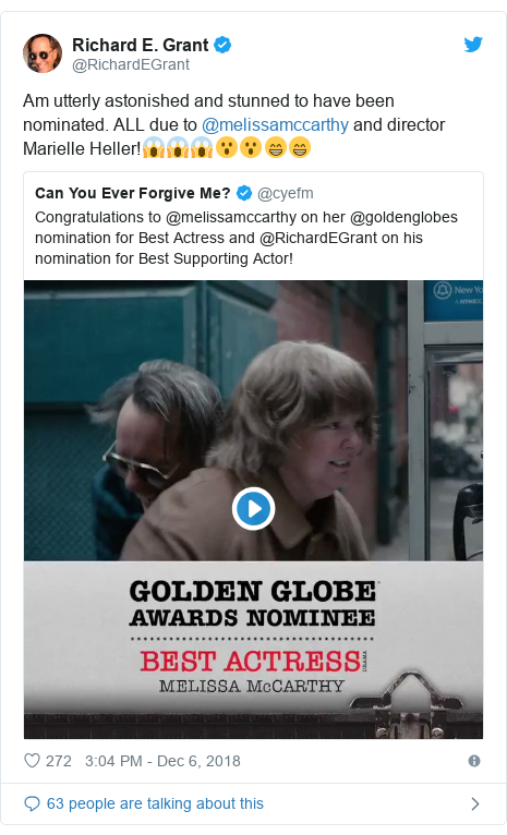 Twitter post by @RichardEGrant: Am utterly astonished and stunned to have been nominated. ALL due to @melissamccarthy and director Marielle Heller!😱😱😱😮😮😁😁