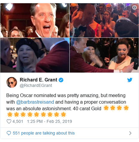 Twitter post by @RichardEGrant: Being Oscar nominated was pretty amazing, but meeting with @barbrastreisand and having a proper conversation was an absolute astonishment. 40 carat Gold 🌟🌟🌟🌟🌟🌟🌟🌟🌟🌟🌟🌟🌟