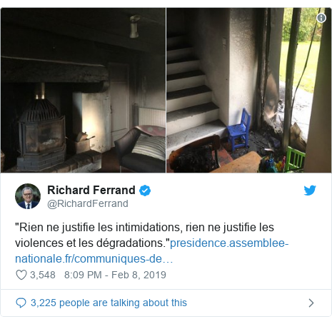 """Twitter post by @RichardFerrand: """"Rien ne justifie les intimidations, rien ne justifie les violences et les dégradations."""""""