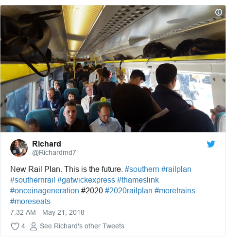 Twitter post by @Richardmd7: New Rail Plan. This is the future. #southern #railplan #southernrail #gatwickexpress #thameslink #onceinageneration #2020 #2020railplan #moretrains #moreseats