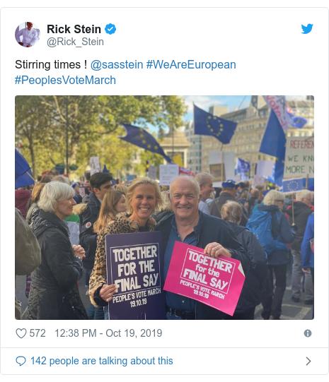 Twitter post by @Rick_Stein: Stirring times ! @sasstein #WeAreEuropean #PeoplesVoteMarch