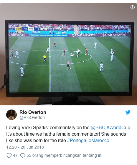 Twitter pesan oleh @RioOverton: Loving Vicki Sparks' commentary on the @BBC #WorldCup It's about time we had a female commentator! She sounds like she was born for the role #PortogalloMarocco