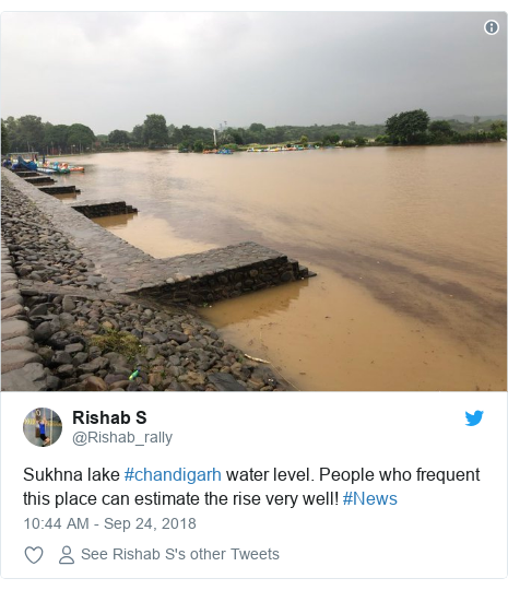 Twitter post by @Rishab_rally: Sukhna lake #chandigarh water level. People who frequent this place can estimate the rise very well! #News