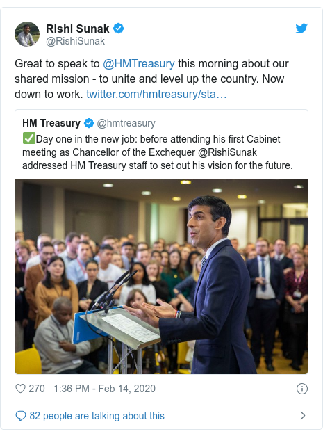 Twitter post by @RishiSunak: Great to speak to @HMTreasury this morning about our shared mission - to unite and level up the country. Now down to work.