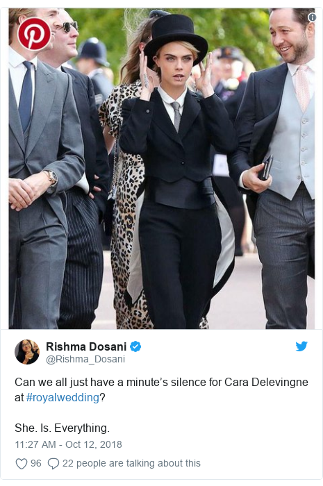Twitter post by @Rishma_Dosani: Can we all just have a minute's silence for Cara Delevingne at #royalwedding?She. Is. Everything.