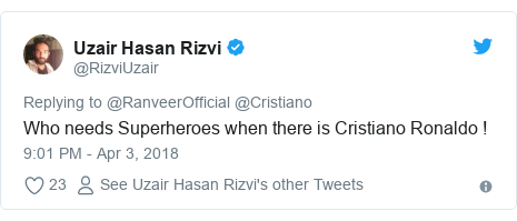 Twitter post by @RizviUzair: Who needs Superheroes when there is Cristiano Ronaldo !