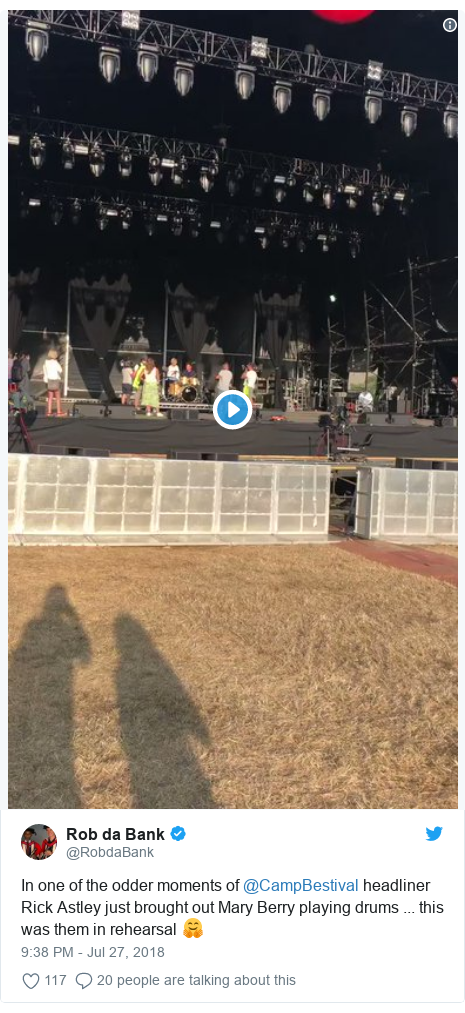 Twitter post by @RobdaBank: In one of the odder moments of @CampBestival headliner Rick Astley just brought out Mary Berry playing drums ... this was them in rehearsal 🤗