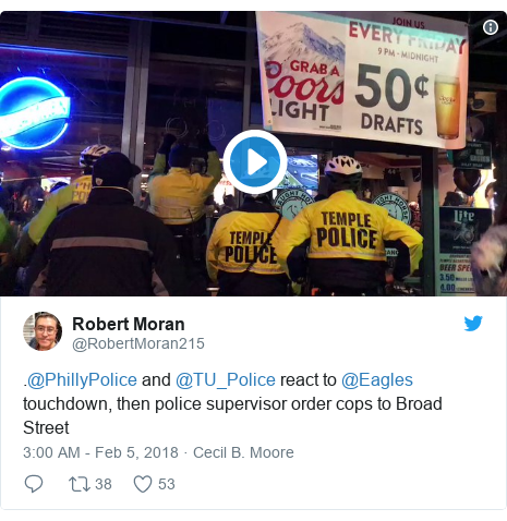 Twitter post by @RobertMoran215: .@PhillyPolice and @TU_Police react to @Eagles touchdown, then police supervisor order cops to Broad Street