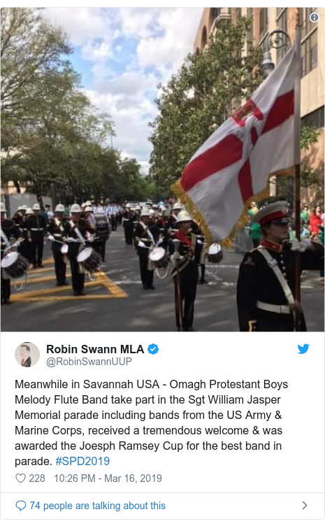 Twitter post by @RobinSwannUUP: Meanwhile in Savannah USA - Omagh Protestant Boys Melody Flute Band take part in the Sgt William Jasper Memorial parade including bands from the US Army & Marine Corps, received a tremendous welcome & was awarded the Joesph Ramsey Cup for the best band in parade. #SPD2019
