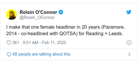 Twitter post by @Roisin_OConnor: I make that one female headliner in 20 years (Paramore, 2014 - co-headlined with QOTSA) for Reading + Leeds.