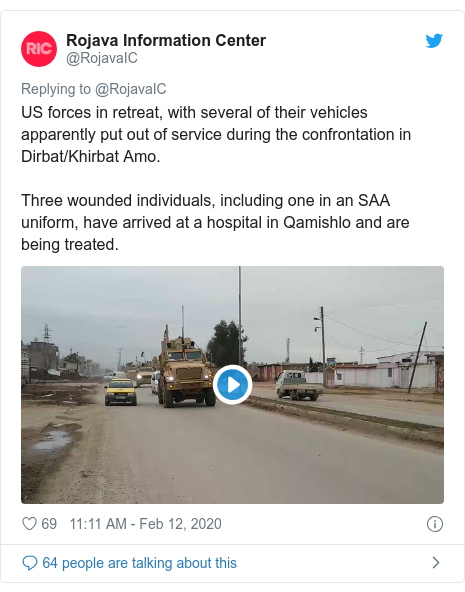 Twitter post by @RojavaIC: US forces in retreat, with several of their vehicles apparently put out of service during the confrontation in Dirbat/Khirbat Amo.Three wounded individuals, including one in an SAA uniform, have arrived at a hospital in Qamishlo and are being treated.