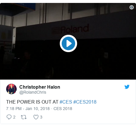 Twitter post by @RolandChris: THE POWER IS OUT AT #CES #CES2018