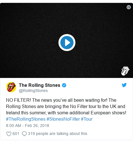 Twitter post by @RollingStones: NO FILTER! The news you've all been waiting for! The Rolling Stones are bringing the No Filter tour to the UK and Ireland this summer, with some additional European shows! #TheRollingStones #StonesNoFilter #Tour