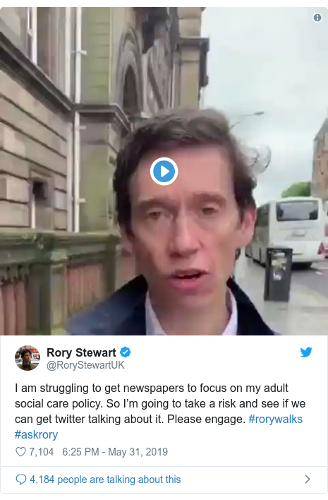 Twitter post by @RoryStewartUK: I am struggling to get newspapers to focus on my adult social care policy. So I'm going to take a risk and see if we can get twitter talking about it. Please engage. #rorywalks #askrory