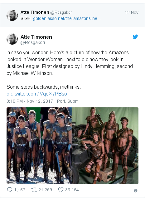 Twitter post by @Rosgakori: In case you wonder  Here's a picture of how the Amazons looked in Wonder Woman...next to pic how they look in Justice League. First designed by Lindy Hemming, second by Michael Wilkinson. Some steps backwards, methinks.