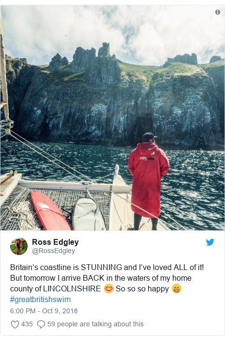 Twitter post by @RossEdgley: Britain's coastline is STUNNING and I've loved ALL of it! But tomorrow I arrive BACK in the waters of my home county of LINCOLNSHIRE 😊 So so so happy 😁 #greatbritishswim
