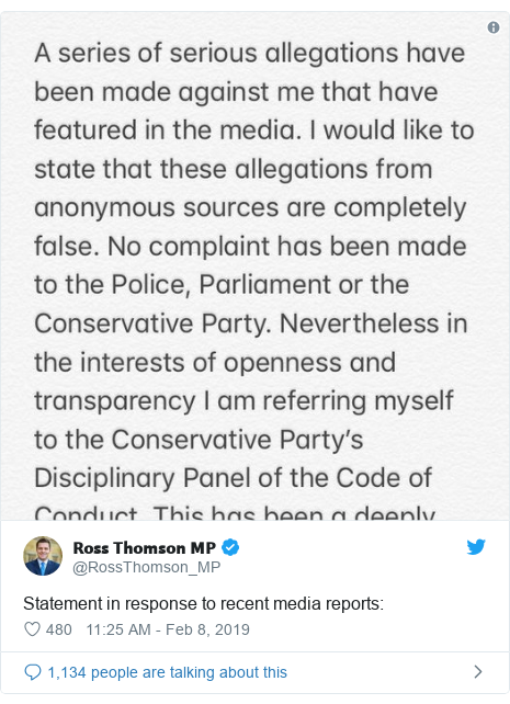 Twitter post by @RossThomson_MP: Statement in response to recent media reports