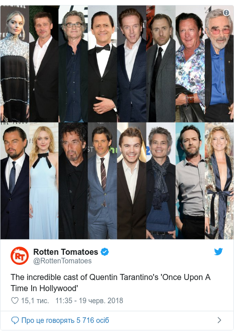 Twitter допис, автор: @RottenTomatoes: The incredible cast of Quentin Tarantino's 'Once Upon A Time In Hollywood'