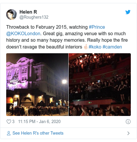 Twitter post by @Roughers132: Throwback to February 2015, watching #Prince @KOKOLondon. Great gig, amazing venue with so much history and so many happy memories. Really hope the fire doesn't ravage the beautiful interiors🤞🏻#koko #camden