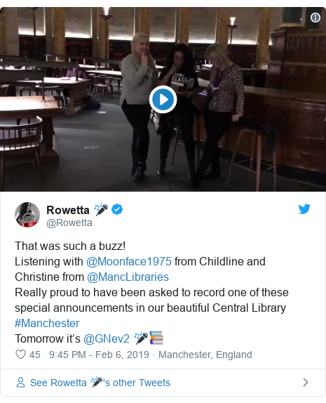 Twitter post by @Rowetta: That was such a buzz! Listening with @Moonface1975 from Childline and Christine from @MancLibrariesReally proud to have been asked to record one of these special announcements in our beautiful Central Library #ManchesterTomorrow it's @GNev2 🎤📚