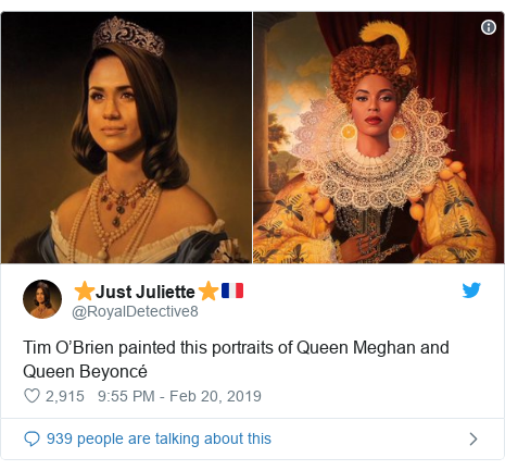 Twitter post by @RoyalDetective8: Tim O'Brien painted this portraits of Queen Meghan and Queen Beyoncé