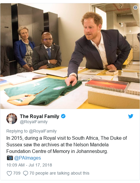 Twitter post by @RoyalFamily: In 2015, during a Royal visit to South Africa, The Duke of Sussex saw the archives at the Nelson Mandela Foundation Centre of Memory in Johannesburg. 📷 @PAImages