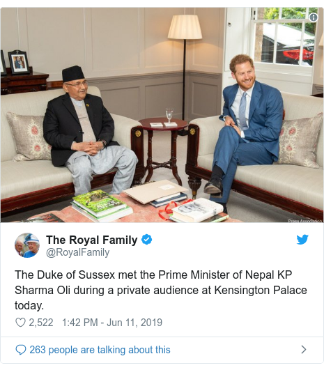 Twitter post by @RoyalFamily: The Duke of Sussex met the Prime Minister of Nepal KP Sharma Oli during a private audience at Kensington Palace today.