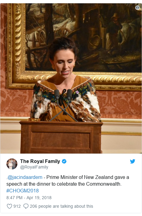 Twitter post by @RoyalFamily: .@jacindaardern - Prime Minister of New Zealand gave a speech at the dinner to celebrate the Commonwealth. #CHOGM2018