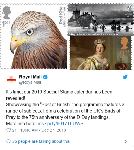 "Twitter post by @RoyalMail: It's time, our 2019 Special Stamp calendar has been revealed!Showcasing the ""Best of British"" the programme features a range of subjects  from a celebration of the UK's Birds of Prey to the 75th anniversary of the D-Day landings.More info here"