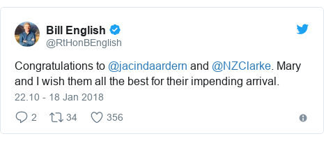 Twitter pesan oleh @RtHonBEnglish: Congratulations to @jacindaardern and @NZClarke. Mary and I wish them all the best for their impending arrival.
