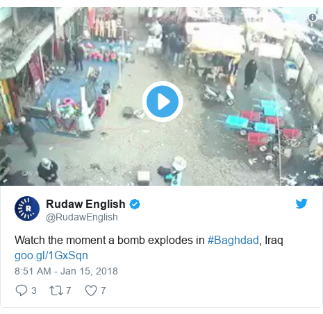 Twitter post by @RudawEnglish: Watch the moment a bomb explodes in #Baghdad, Iraq