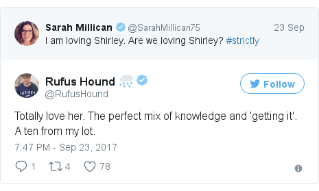 Twitter post by @RufusHound: Totally love her. The perfect mix of knowledge and 'getting it'. A ten from my lot.